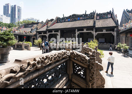 GUANGZHOU, CHINA - APRIL 1, 2017: visitors in court of Chen Clan Ancestral Hall academic temple (Guangdong Folk - Stock Photo