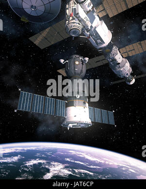Spacecraft Is Preparing To Dock With International Space Station. 3D Illustration. - Stock Photo