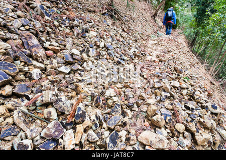 travel to China - tourist walks on path through landslide on mountain slope in Dazhai country of Longsheng Rice - Stock Photo