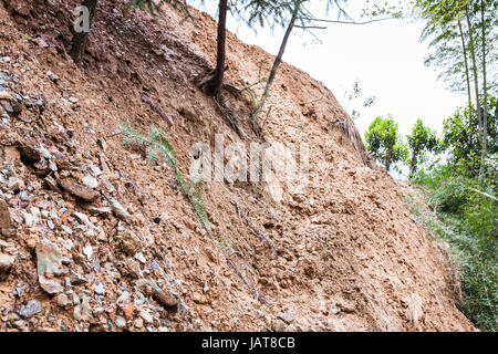 travel to China - path through mudslide on mountain slope in Dazhai country of Longsheng Rice Terraces (Dragon's - Stock Photo