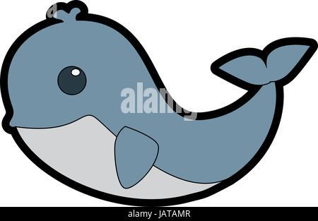 Whale cute cartoon - Stock Photo