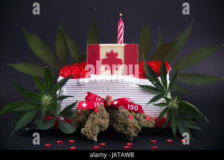 Small infused cake with cannabis nugs, flowers and flag to celebrate candian 150 anniversary and the marijuana industry - Stock Photo