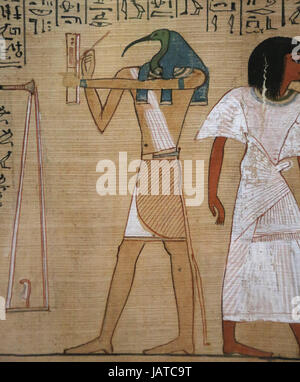 Book of the Dead. Judgement from scribe Hunefer. 19th dynasty. 1300 BCE. Thoth, scribe of gods, records the result. - Stock Photo