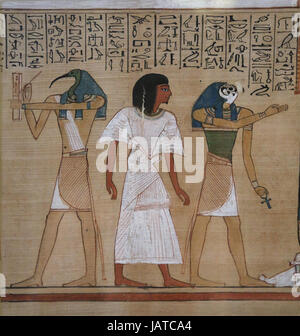Book of the Dead. Judgement from scribe Hunefer. 19th dynasty. 1300 BCE. Thoth, Hunefer and Horus. British Museum. - Stock Photo