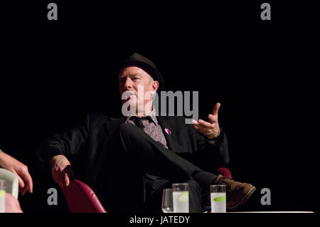 Cartoonist and writer Martin Ronson on stage in June 2017 at the 8th annual Stoke Newington Literary Festival against - Stock Photo