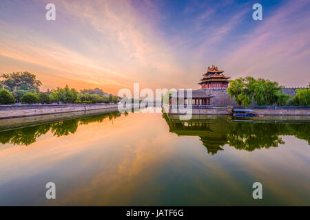 Beijing, China forbidden city outer moat. - Stock Photo
