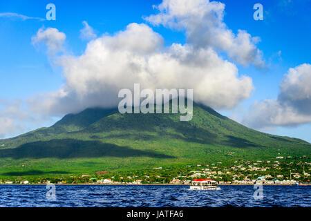 Nevis Peak, A volcano in the Caribbean. - Stock Photo