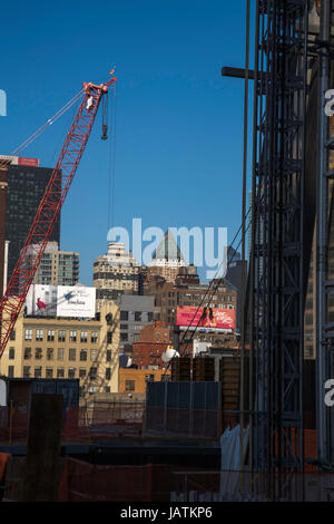 Construction work the High Line near The Hudson Yards Chelsea and Meat Packing District New York City USA - Stock Photo