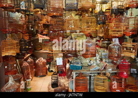 Yuen Po Street Bird Garden and market, Mong Kok, Kowloon, Hong Kong, China - Stock Photo
