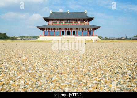 Daigokuden Hall of Heijo Palace in Nara, Japan - A UNESCO World Heritage Site - Stock Photo