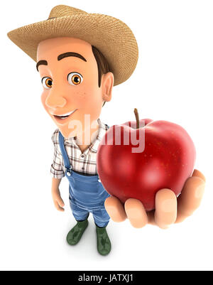 3d farmer holding red apple, illustration with isolated white background - Stock Photo