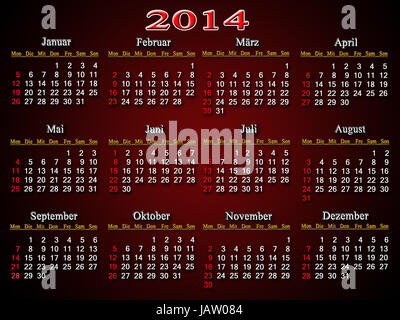 beautiful claret and unusual calendar for 2014 year in German - Stock Photo