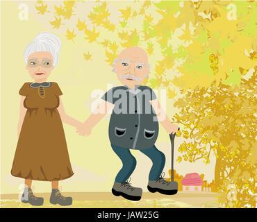 Senior couple walking in autumn day - Stock Photo