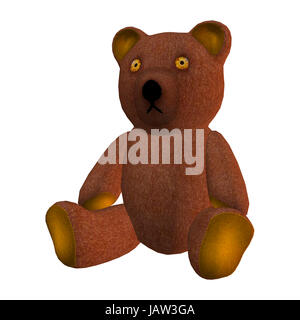 3D digital render of a children's toy teddy bear  isolated on white background - Stock Photo