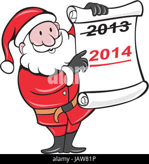Illustration of Father Christmas Santa Claus showing a paper scroll with year 2013 crossed out and pointing to New - Stock Photo
