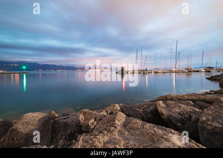 Nightfall at Pully in Switzerland by Lake Leman (Lake Geneva) - Stock Photo