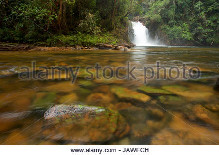 Riam Berasap, the Falls of the Mists, is the largest waterfall in Gunung Palung National Park. - Stock Photo