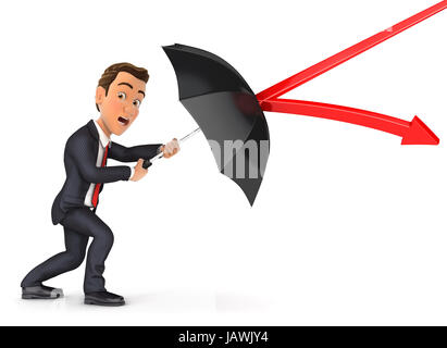 3d businessman stopping arrow with umbrella, illustration with isolated white background - Stock Photo