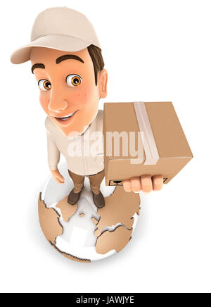 3d delivery man standing on earth, illustration with isolated white background - Stock Photo