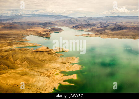 lake mead Grand Canyon in green and red colors - Stock Photo