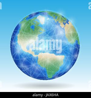 earth planet with line of network connect around the world - Stock Photo
