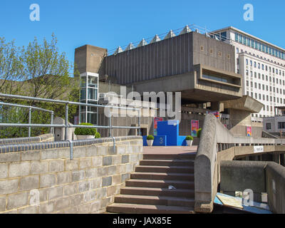 LONDON, ENGLAND, UK - MAY 06, 2010: The Hayward Gallery iconic masterpiece of the New Brutalism part of the South - Stock Photo