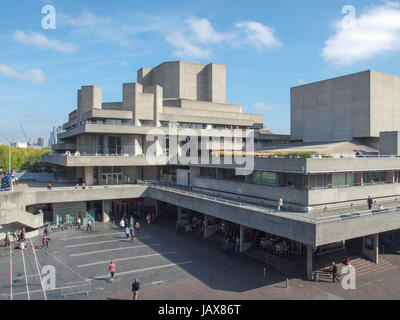 LONDON, ENGLAND, UK - SEPTEMBER 27, 2011: The Royal National Theatre iconic masterpiece of the New Brutalism designed - Stock Photo