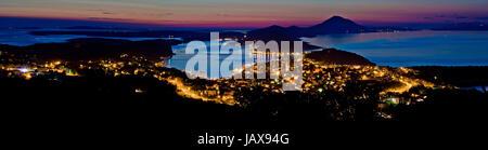 Mali Losinj bay panoramic view at dusk, colorful sunset, Island of Losinj, Croatia - Stock Photo