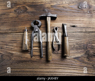 Carpenter's tools on a old wooden table - Stock Photo