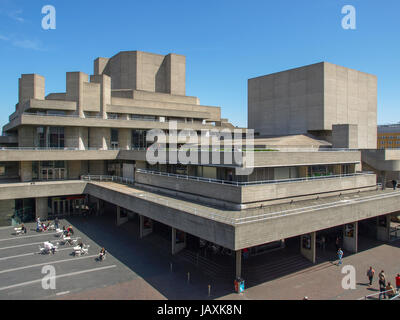 LONDON, ENGLAND, UK - MAY 06, 2010: The Royal National Theatre iconic masterpiece of the New Brutalism designed - Stock Photo