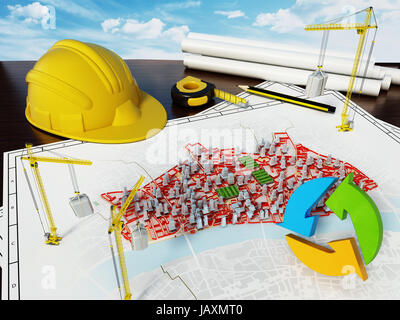 City renewal concept with model buildings on the plan. 3D illustration. - Stock Photo