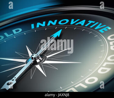 Compass needle pointing the word innovative concept of innovate and business solutions, black background. - Stock Photo