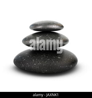 Three stones stacked over white background, balancing pebbles. 3D render symbol of relaxation, serenity and harmony. - Stock Photo