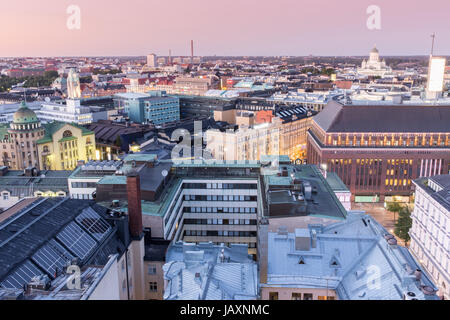 Dusk Over Helsinki Rooftops. - Stock Photo