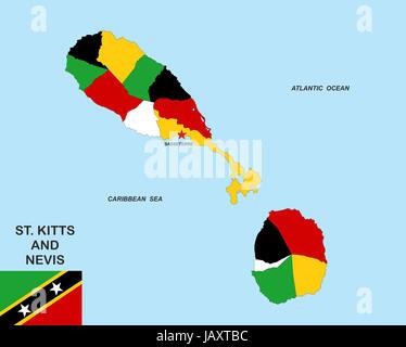 saint kitts and nevis map Stock Photo 121165528 Alamy