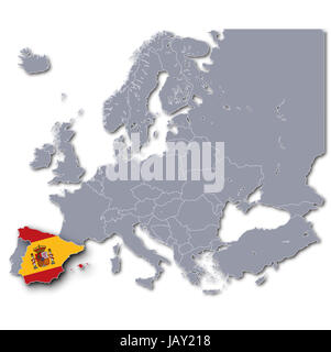 map of europe with spain - Stock Photo