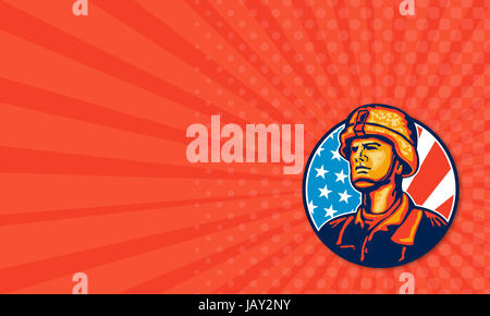 Business card template showing illustration of an American soldier military serviceman looking forward with USA - Stock Photo