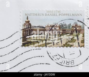 GERMANY - CIRCA 2012: Celebratory stamp for 350 years since birth of Dresden architect Matthaeus Daniel Poeppelmann - Stock Photo