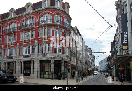 Buildings in Shopping District on Rua Santa Catarina and R. de Passos Manuel - Stock Photo