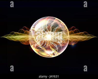 Wave Particle series. Composition of fractal spherical patterns and conceptual elements with metaphorical relationship - Stock Photo