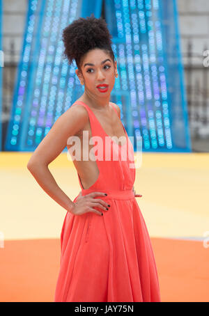 Pearl Mackie,  Dr Who's assistant, Bill Potts in the tenth series  arrives at the VIP Preview of the Summer Exhibition - Stock Photo