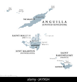 Anguilla SaintMartin Sint Maarten And Saint Barthelemy - Saint barthelemy map