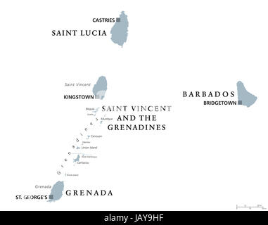 saint vincent and the grenadines map Stock Vector Art Illustration