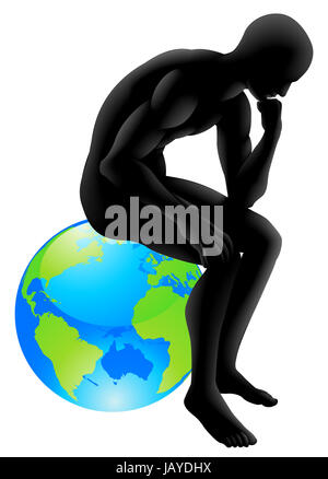 Globe thinker concept, thinker style person sitting on a globe, could be concept for  thinking about the environment - Stock Photo