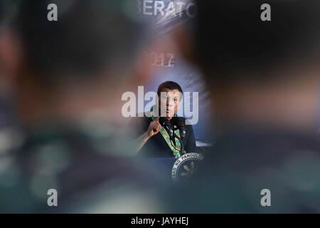 Philippine President Rodrigo Duterte addresses soldiers of the 602nd Infantry Brigade at Camp Robert Edward Lucero - Stock Photo