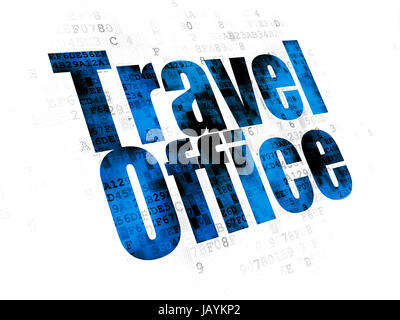 Travel concept: Pixelated blue text Travel Office on Digital background - Stock Photo