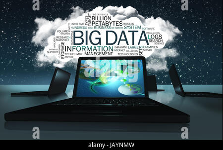 Technologie Word Cloud with Terms of Big Data - Stock Photo