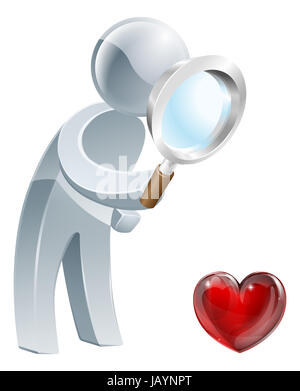 A person holding a magnifying glass and looking at a heart shaped symbol. Could be concept for looking for love - Stock Photo