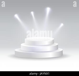 Round podium illuminated by spotlights. - Stock Photo