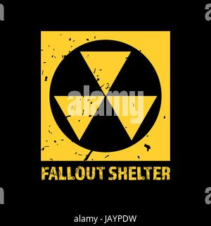 Fallout Shelter. Vintage Nuclear Symbol. Radioactive Zone Sign. Vector - Stock Photo